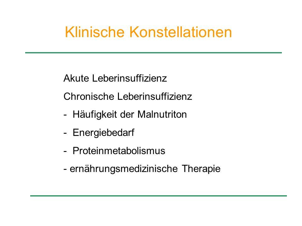 Klinische Konstellationen Akute Leberinsuffizienz Chronische Leberinsuffizienz - Häufigkeit der Malnutriton - Energiebedarf - Proteinmetabolismus - er