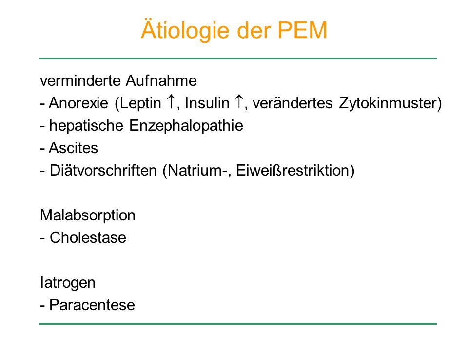 Ätiologie der PEM verminderte Aufnahme - Anorexie (Leptin, Insulin, verändertes Zytokinmuster) - hepatische Enzephalopathie - Ascites - Diätvorschrift