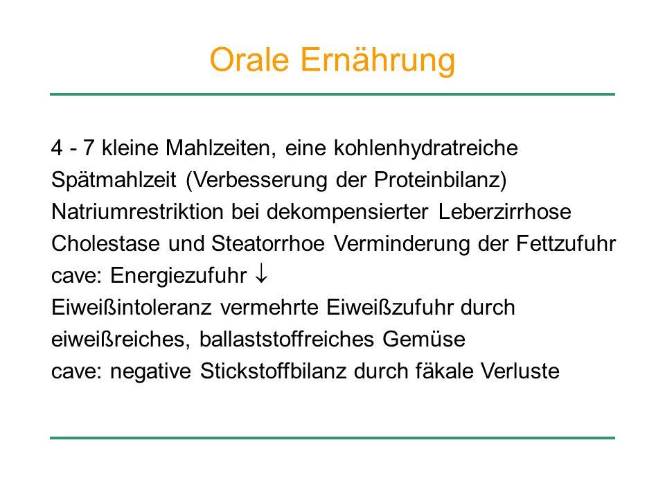 Orale Ernährung 4 - 7 kleine Mahlzeiten, eine kohlenhydratreiche Spätmahlzeit (Verbesserung der Proteinbilanz) Natriumrestriktion bei dekompensierter