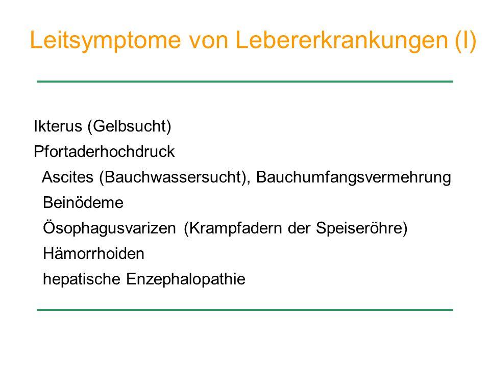 portale Hypertension p > 10 mm Hg Umgehungskreisläufe der Leber (Shunting) mit der Folge von Splenomegalie (Hypersplenismus) Ösophagusvarizen (Blutungen) Infektionen (fehlende hepatische Clearance) Ascites hepatische Enzephalopathie