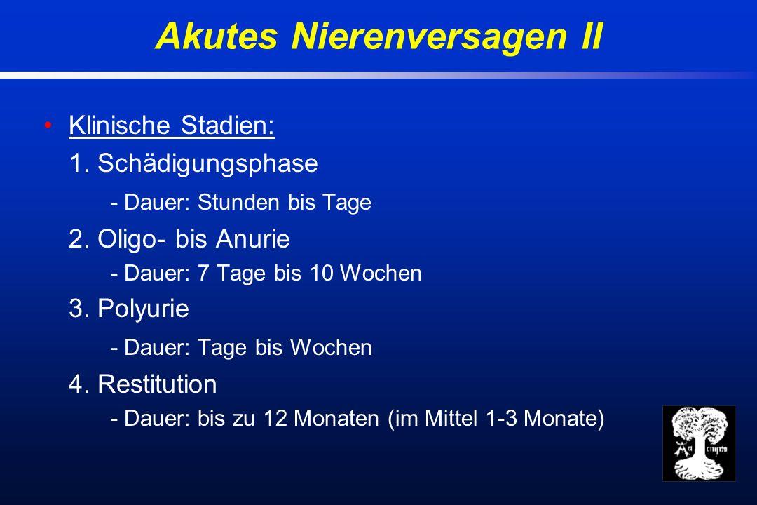 Klinische Stadien: 1. Schädigungsphase - Dauer: Stunden bis Tage 2.