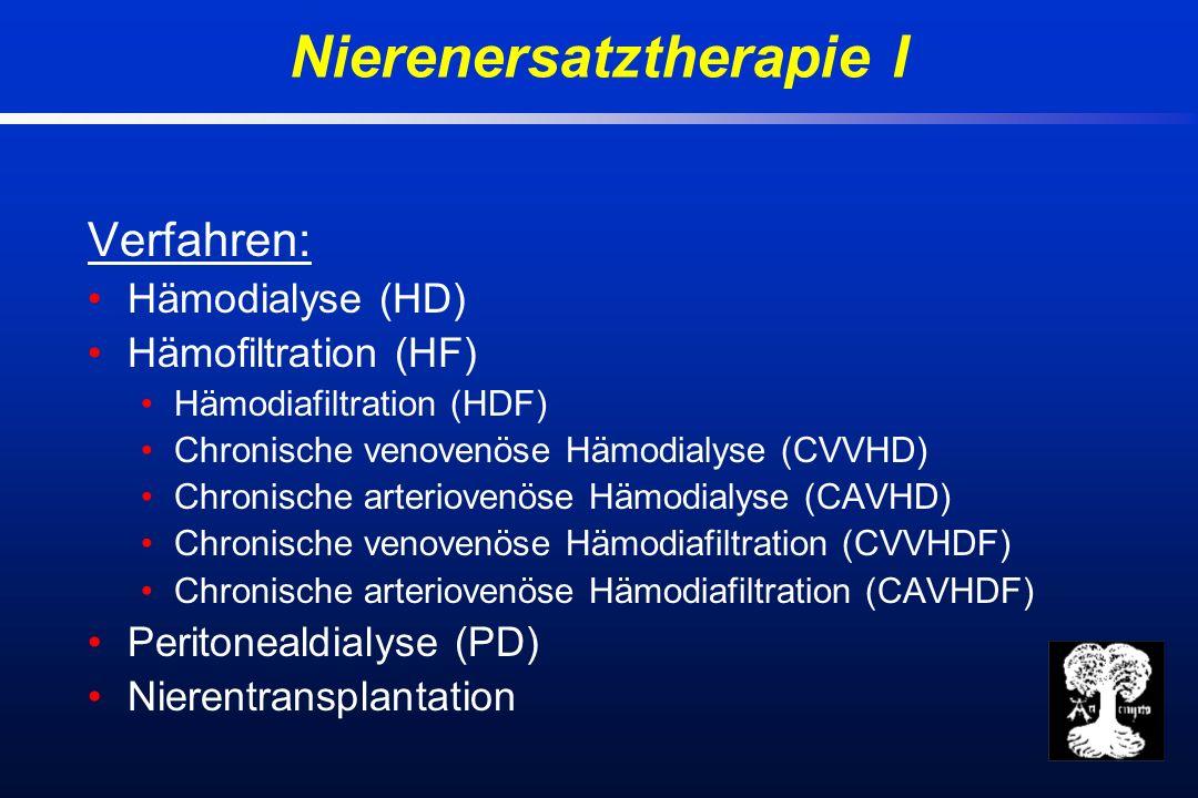 Verfahren: Hämodialyse (HD) Hämofiltration (HF) Hämodiafiltration (HDF) Chronische venovenöse Hämodialyse (CVVHD) Chronische arteriovenöse Hämodialyse (CAVHD) Chronische venovenöse Hämodiafiltration (CVVHDF) Chronische arteriovenöse Hämodiafiltration (CAVHDF) Peritonealdialyse (PD) Nierentransplantation Nierenersatztherapie I