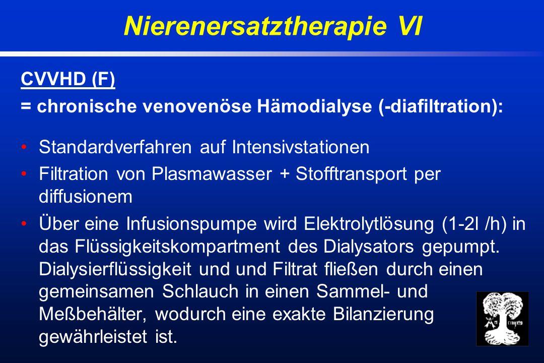 CVVHD (F) = chronische venovenöse Hämodialyse (-diafiltration): Standardverfahren auf Intensivstationen Filtration von Plasmawasser + Stofftransport per diffusionem Über eine Infusionspumpe wird Elektrolytlösung (1-2l /h) in das Flüssigkeitskompartment des Dialysators gepumpt.