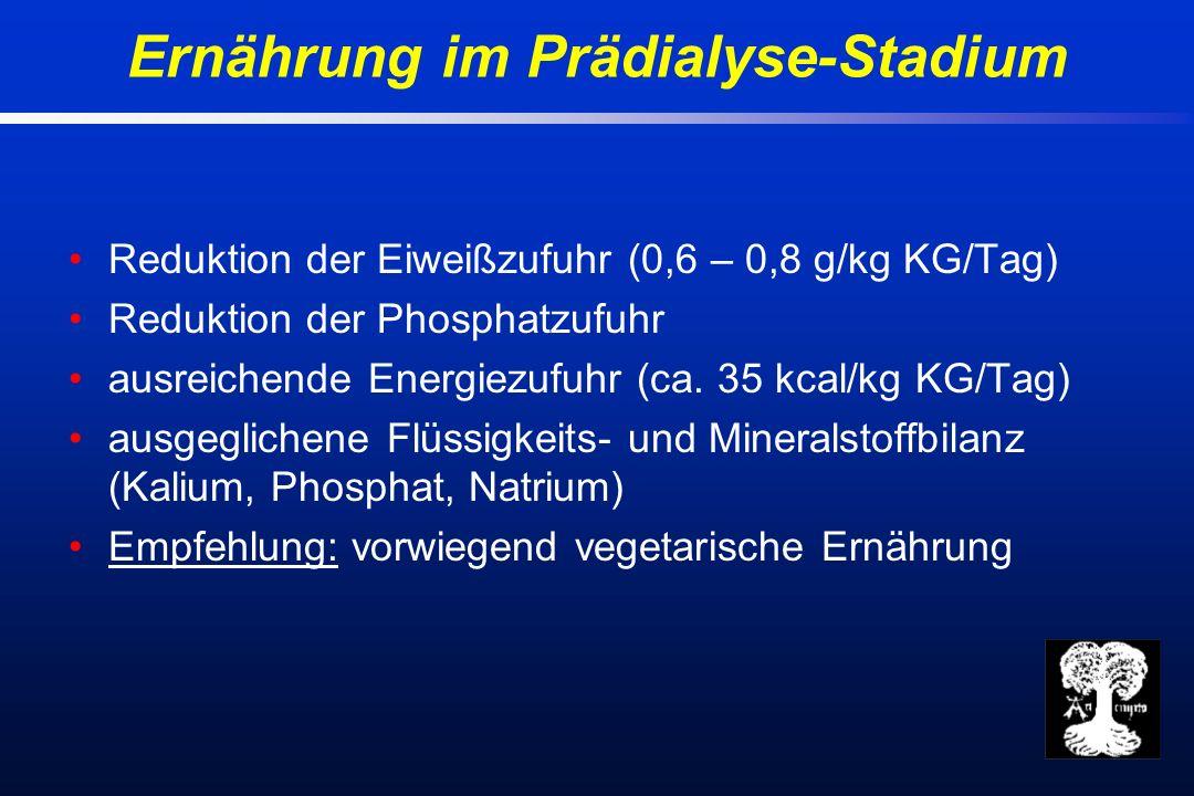 Reduktion der Eiweißzufuhr (0,6 – 0,8 g/kg KG/Tag) Reduktion der Phosphatzufuhr ausreichende Energiezufuhr (ca.