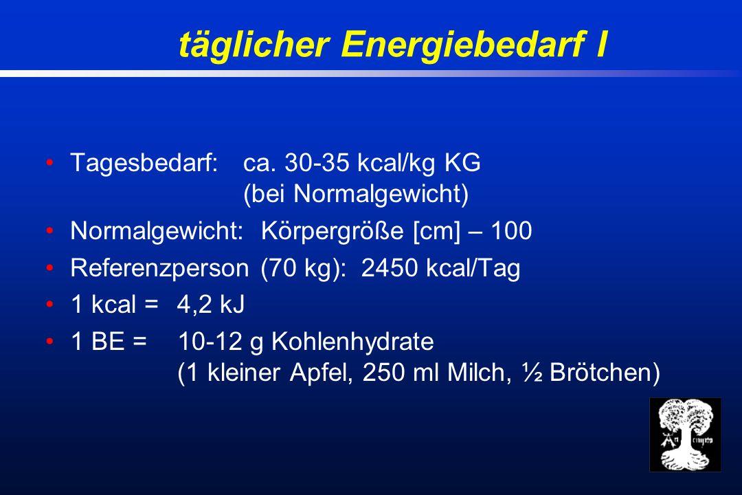 täglicher Energiebedarf I Tagesbedarf: ca.