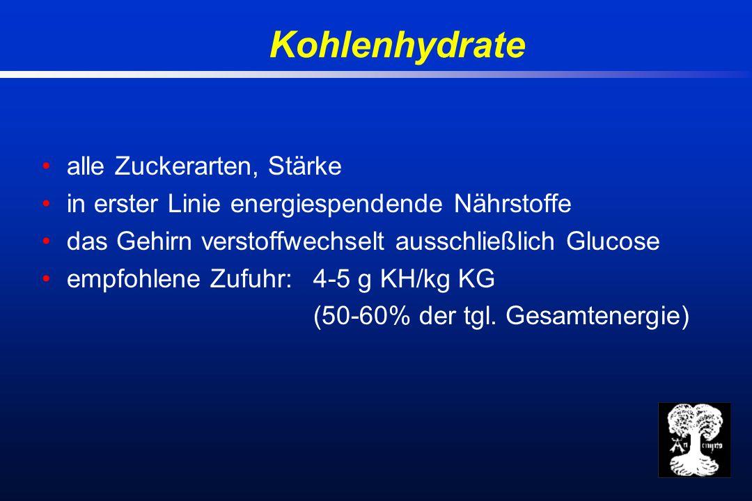 Kohlenhydrate alle Zuckerarten, Stärke in erster Linie energiespendende Nährstoffe das Gehirn verstoffwechselt ausschließlich Glucose empfohlene Zufuhr: 4-5 g KH/kg KG (50-60% der tgl.