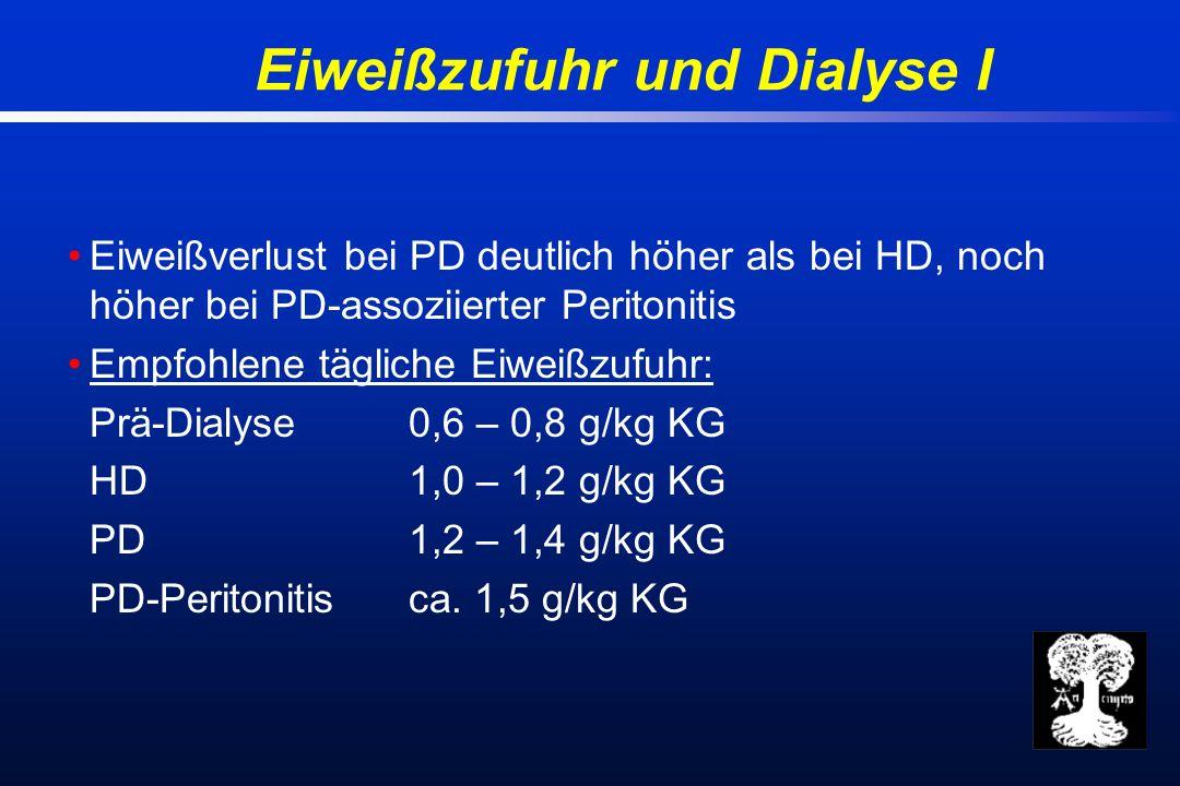 Eiweißzufuhr und Dialyse I Eiweißverlust bei PD deutlich höher als bei HD, noch höher bei PD-assoziierter Peritonitis Empfohlene tägliche Eiweißzufuhr: Prä-Dialyse0,6 – 0,8 g/kg KG HD 1,0 – 1,2 g/kg KG PD1,2 – 1,4 g/kg KG PD-Peritonitisca.