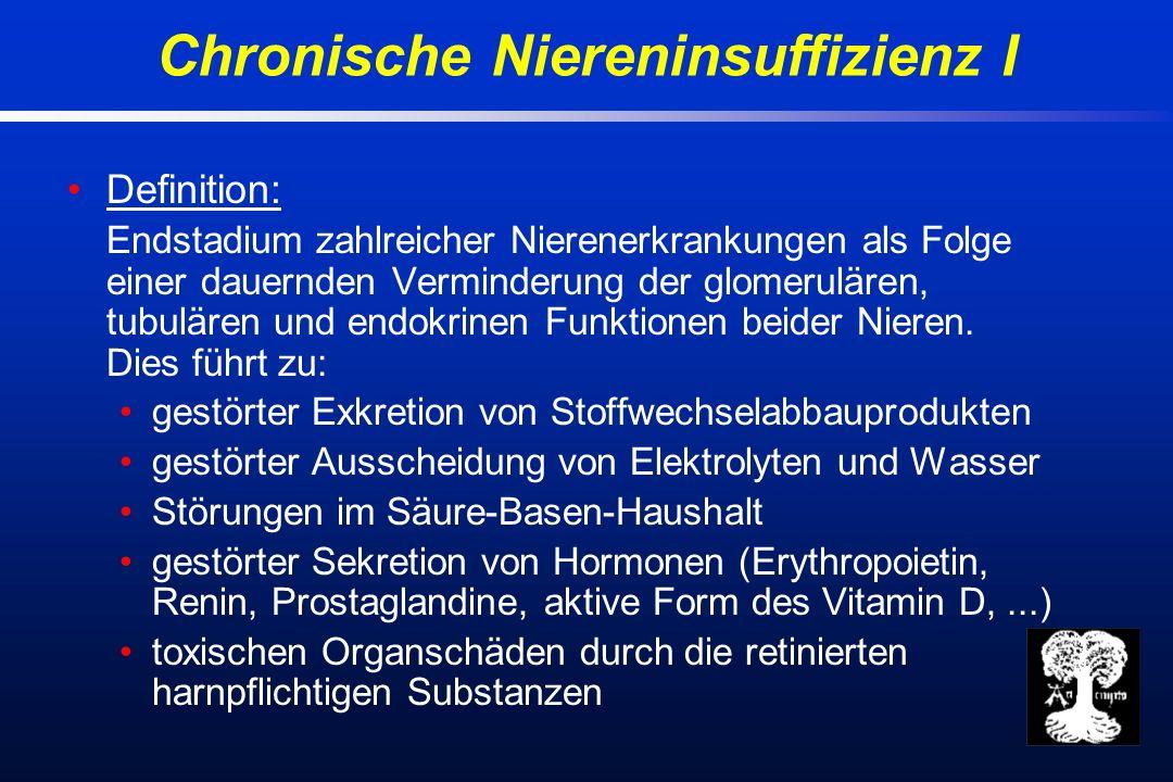 Ursachen: primär glomeruläre Erkrankungen (GN) primär tubuläre Erkrankungen (Fanconi-Syndrom) interstitielle Erkrankungen (Analgetikanephropathie) vaskuläre Erkrankungen (art.
