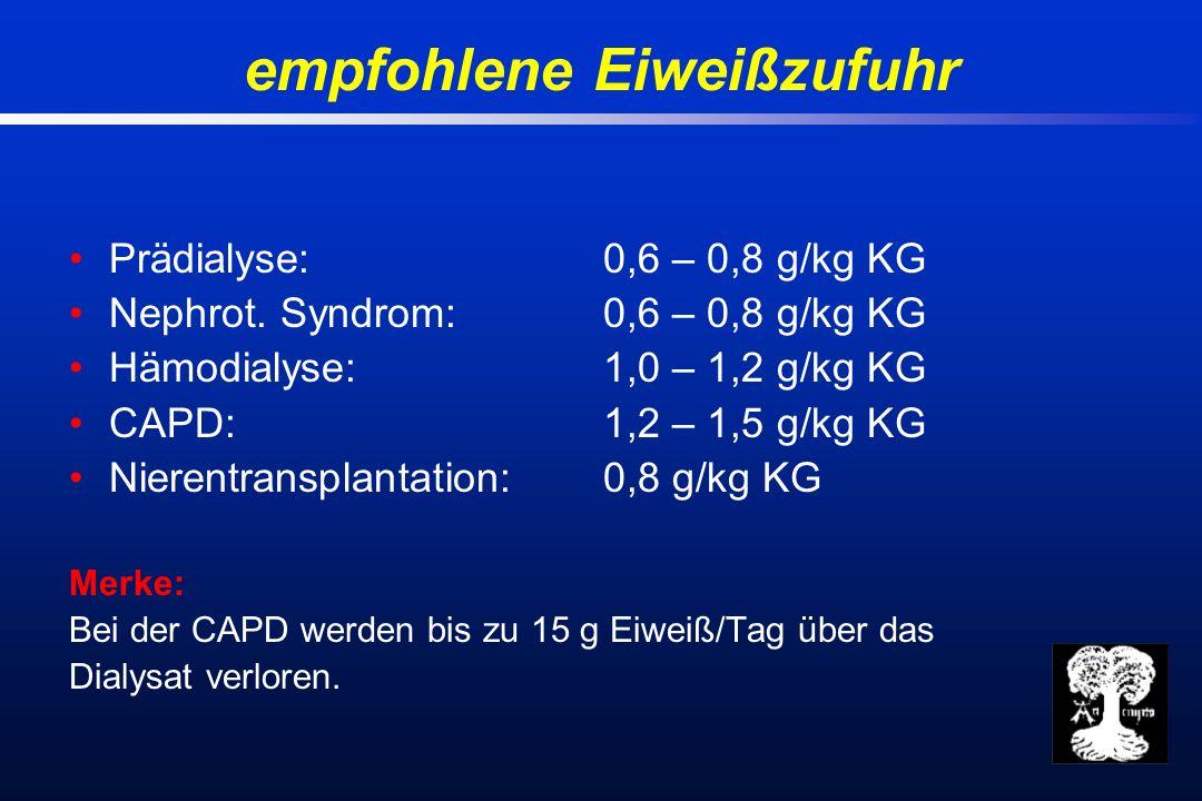 Prädialyse:0,6 – 0,8 g/kg KG Nephrot.