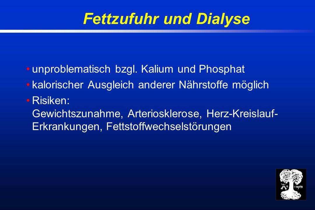 Fettzufuhr und Dialyse unproblematisch bzgl.