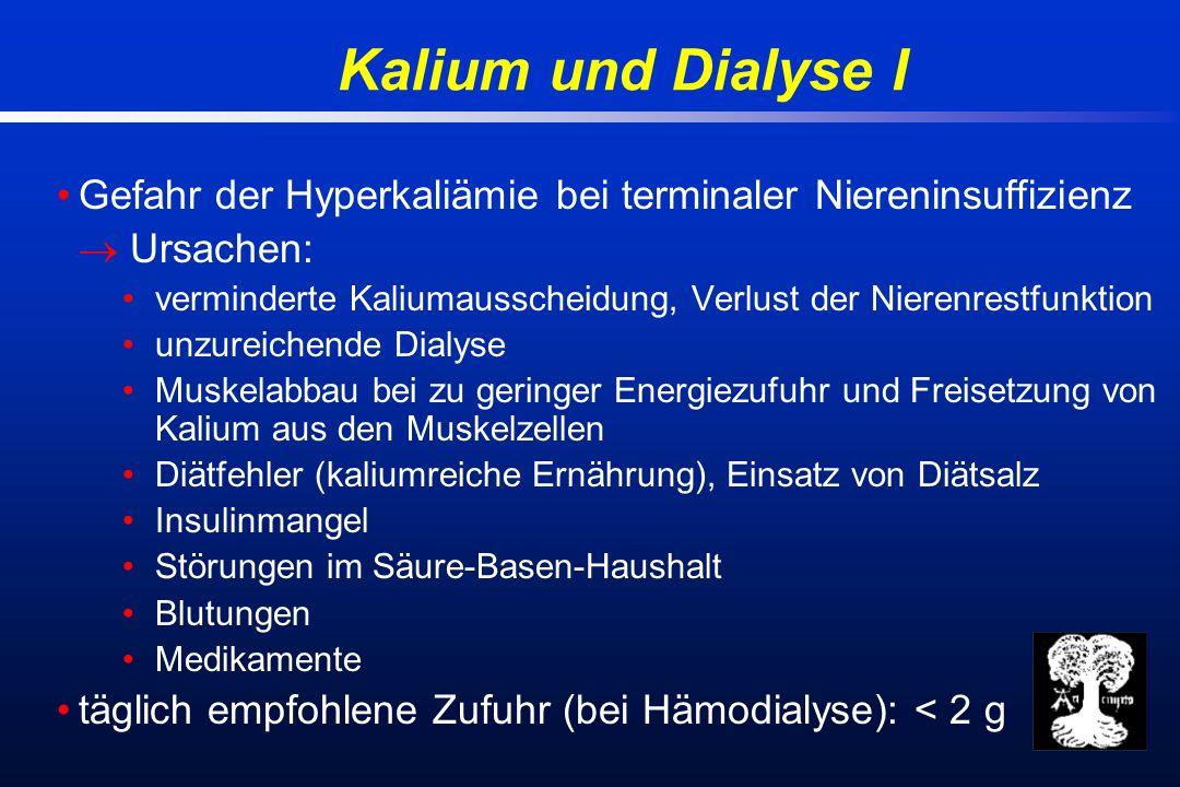 Kalium und Dialyse I Gefahr der Hyperkaliämie bei terminaler Niereninsuffizienz Ursachen: verminderte Kaliumausscheidung, Verlust der Nierenrestfunktion unzureichende Dialyse Muskelabbau bei zu geringer Energiezufuhr und Freisetzung von Kalium aus den Muskelzellen Diätfehler (kaliumreiche Ernährung), Einsatz von Diätsalz Insulinmangel Störungen im Säure-Basen-Haushalt Blutungen Medikamente täglich empfohlene Zufuhr (bei Hämodialyse): < 2 g