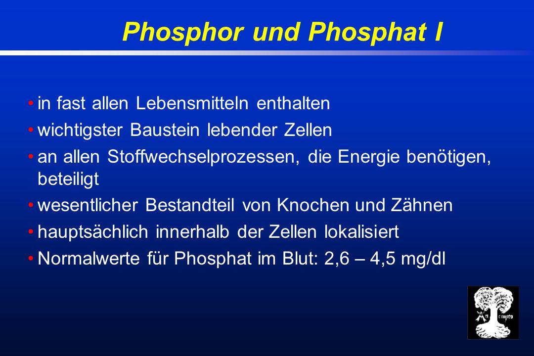 Phosphor und Phosphat I in fast allen Lebensmitteln enthalten wichtigster Baustein lebender Zellen an allen Stoffwechselprozessen, die Energie benötigen, beteiligt wesentlicher Bestandteil von Knochen und Zähnen hauptsächlich innerhalb der Zellen lokalisiert Normalwerte für Phosphat im Blut: 2,6 – 4,5 mg/dl