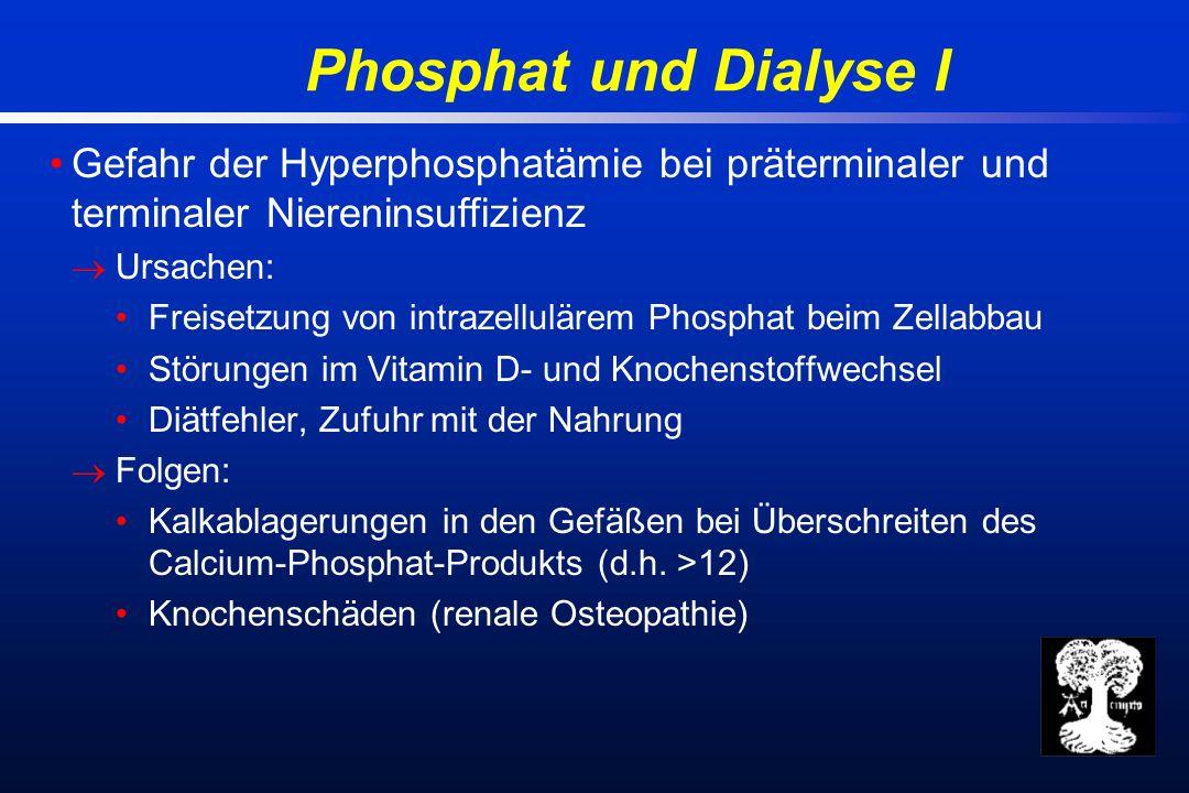 Phosphat und Dialyse I Gefahr der Hyperphosphatämie bei präterminaler und terminaler Niereninsuffizienz Ursachen: Freisetzung von intrazellulärem Phosphat beim Zellabbau Störungen im Vitamin D- und Knochenstoffwechsel Diätfehler, Zufuhr mit der Nahrung Folgen: Kalkablagerungen in den Gefäßen bei Überschreiten des Calcium-Phosphat-Produkts (d.h.