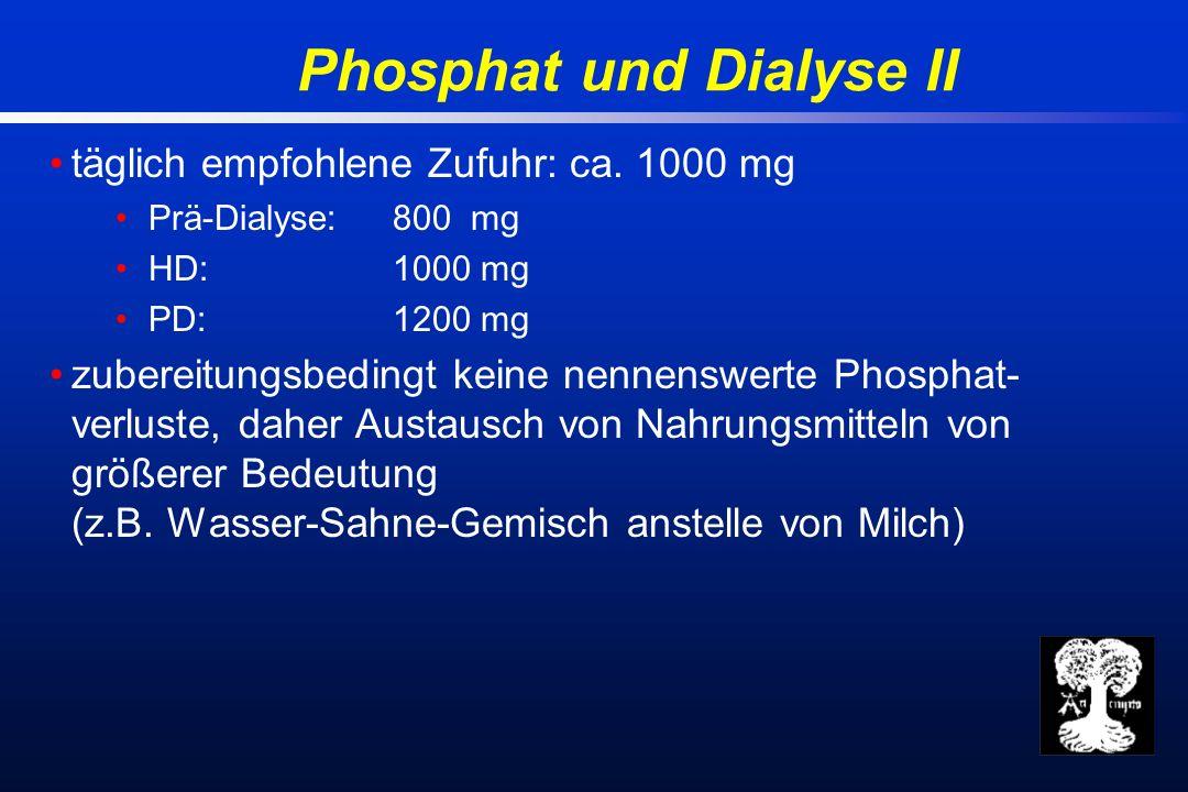 Phosphat und Dialyse II täglich empfohlene Zufuhr: ca.