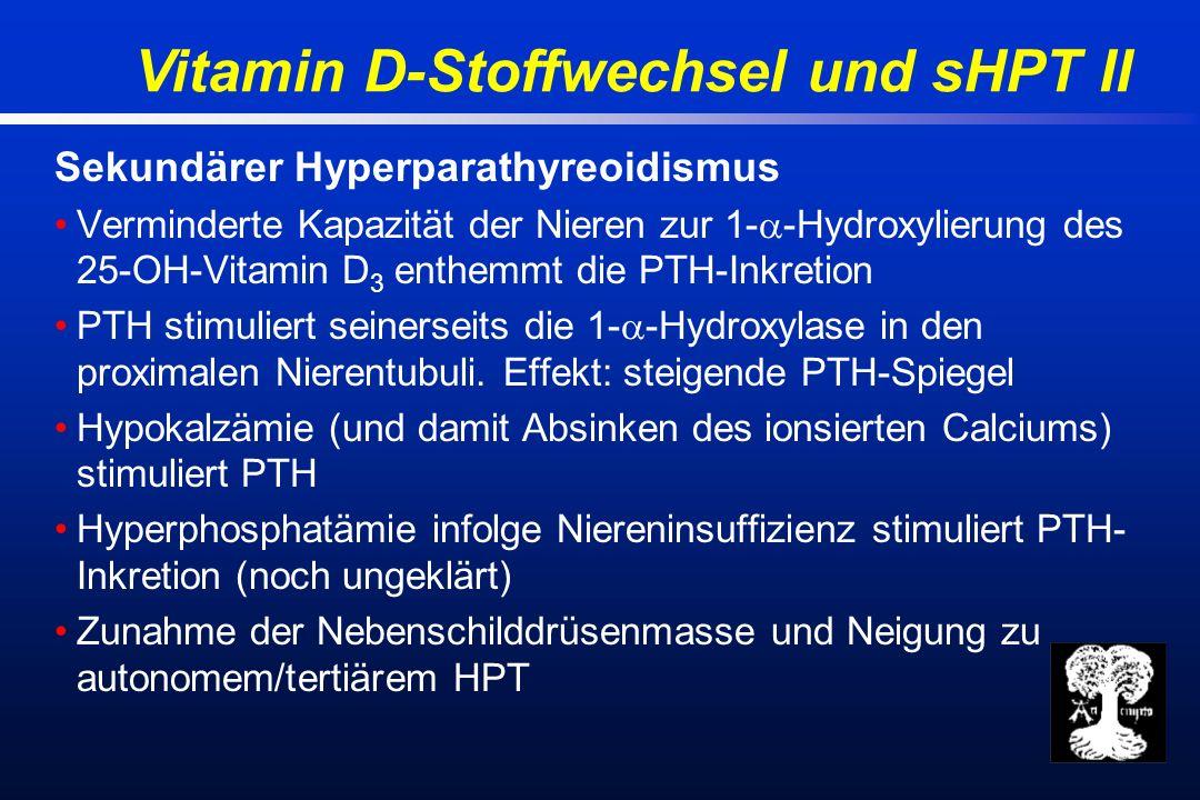 Vitamin D-Stoffwechsel und sHPT II Sekundärer Hyperparathyreoidismus Verminderte Kapazität der Nieren zur 1- -Hydroxylierung des 25-OH-Vitamin D 3 enthemmt die PTH-Inkretion PTH stimuliert seinerseits die 1- -Hydroxylase in den proximalen Nierentubuli.