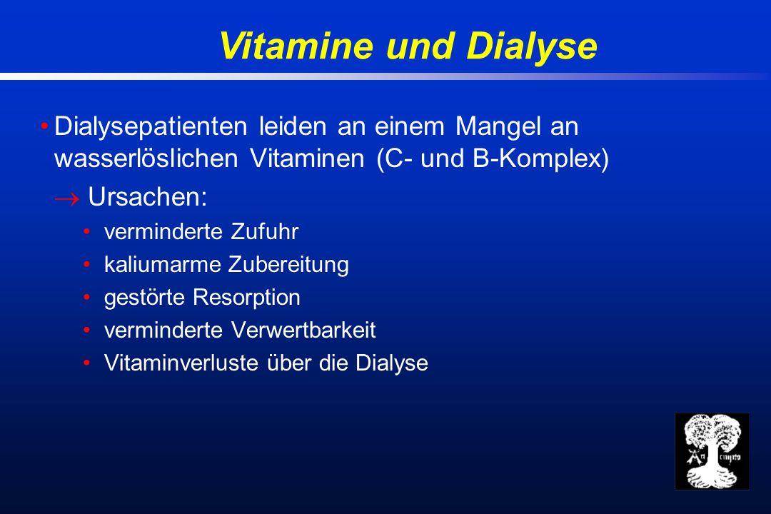Vitamine und Dialyse Dialysepatienten leiden an einem Mangel an wasserlöslichen Vitaminen (C- und B-Komplex) Ursachen: verminderte Zufuhr kaliumarme Zubereitung gestörte Resorption verminderte Verwertbarkeit Vitaminverluste über die Dialyse