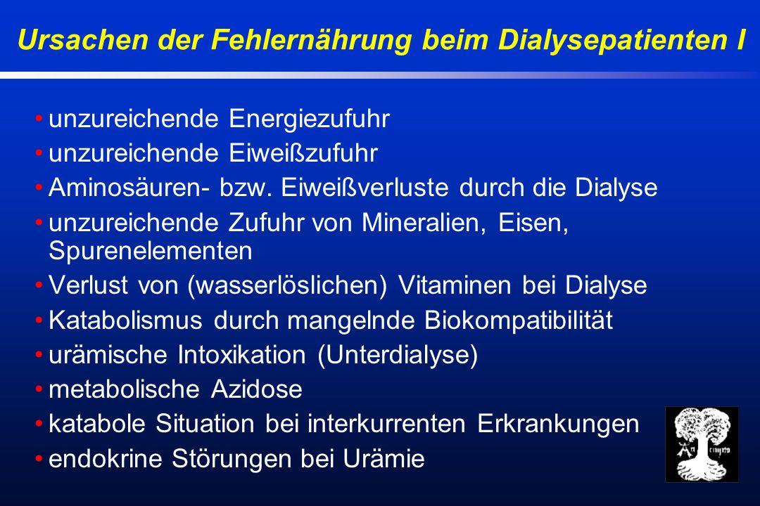Ursachen der Fehlernährung beim Dialysepatienten I unzureichende Energiezufuhr unzureichende Eiweißzufuhr Aminosäuren- bzw.
