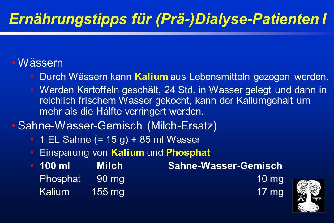 Ernährungstipps für (Prä-)Dialyse-Patienten I Wässern Durch Wässern kann Kalium aus Lebensmitteln gezogen werden.