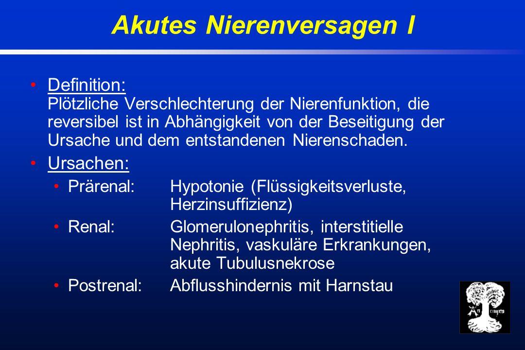 Definition: Plötzliche Verschlechterung der Nierenfunktion, die reversibel ist in Abhängigkeit von der Beseitigung der Ursache und dem entstandenen Nierenschaden.