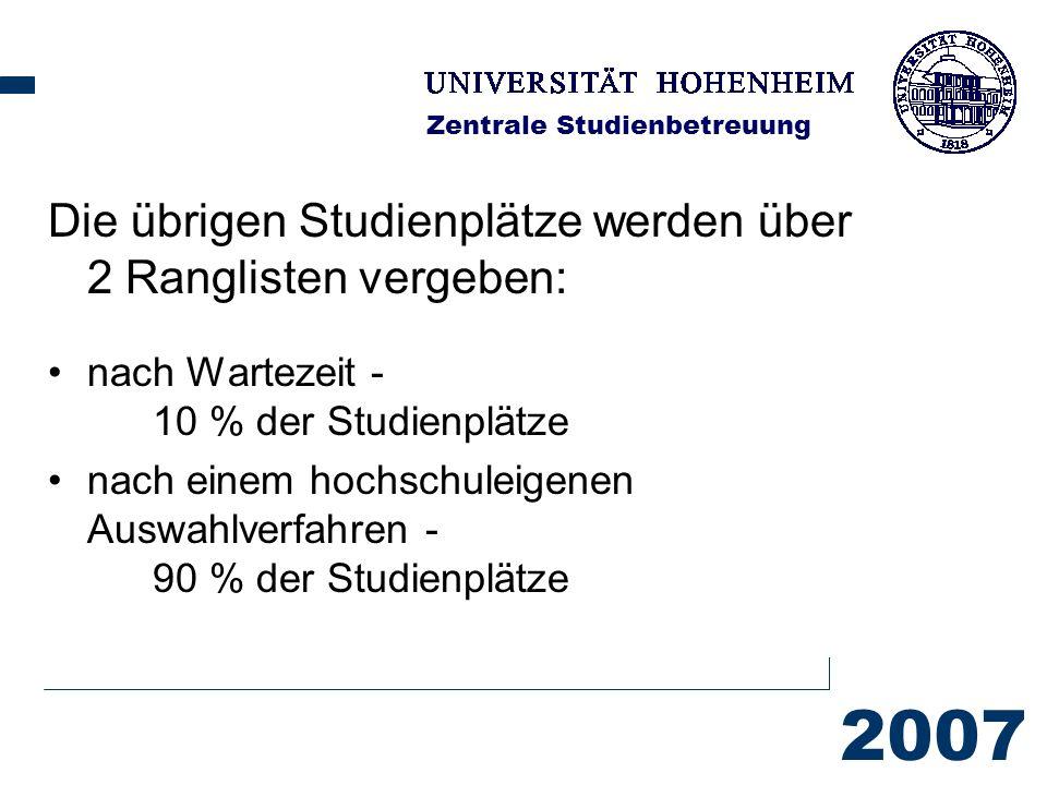 2007 Zentrale Studienbetreuung Die übrigen Studienplätze werden über 2 Ranglisten vergeben: nach Wartezeit - 10 % der Studienplätze nach einem hochschuleigenen Auswahlverfahren - 90 % der Studienplätze