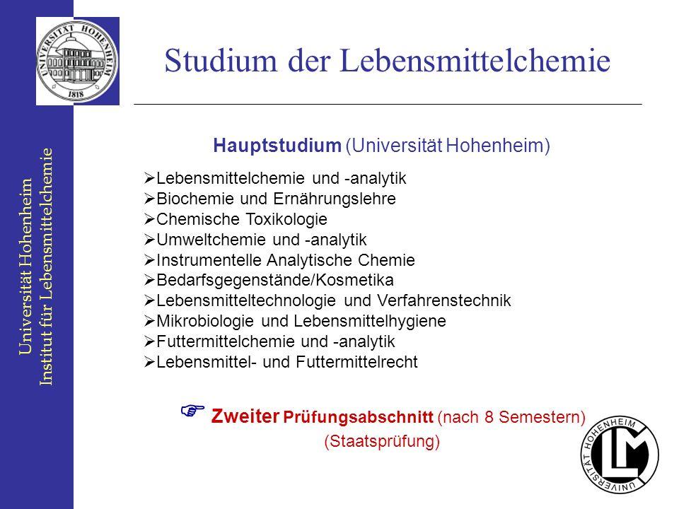Universität Hohenheim Institut für Lebensmittelchemie Studium der Lebensmittelchemie Hauptstudium (Universität Hohenheim) Lebensmittelchemie und -anal