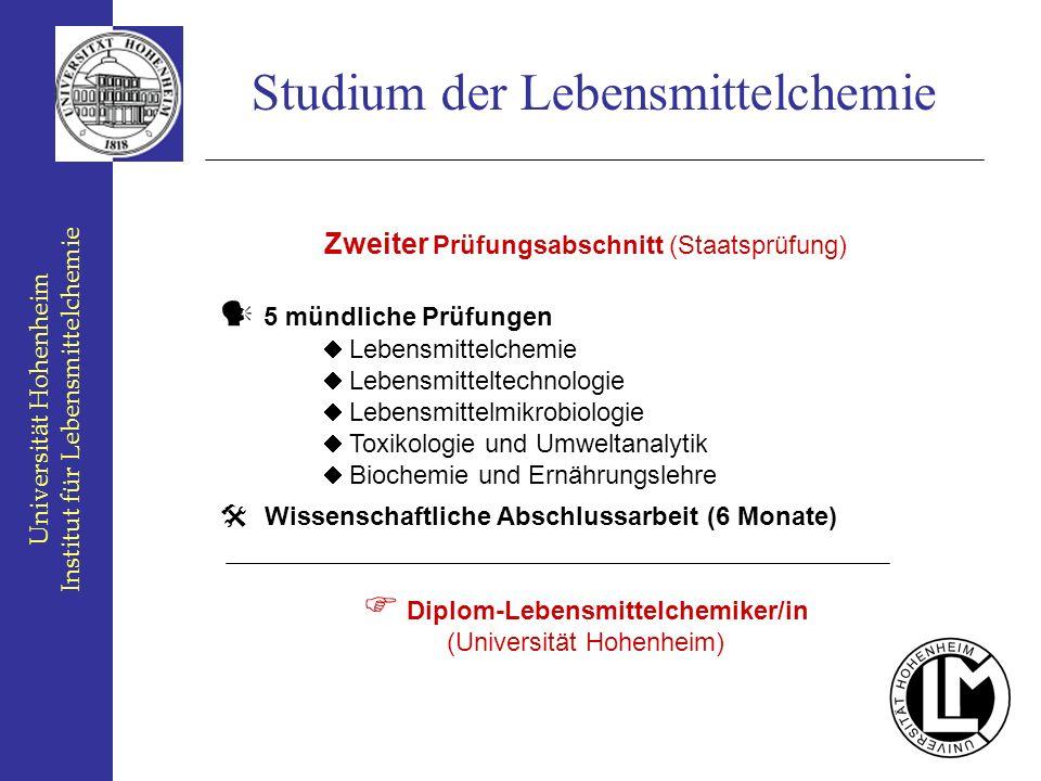 Universität Hohenheim Institut für Lebensmittelchemie Studium der Lebensmittelchemie Zweiter Prüfungsabschnitt (Staatsprüfung) 5 mündliche Prüfungen L