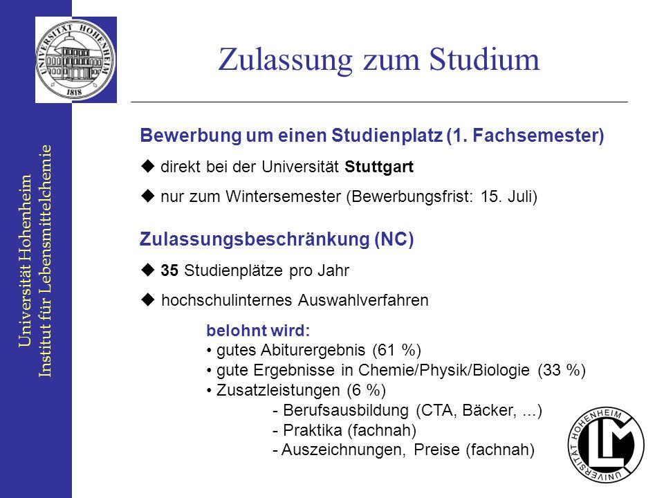 Bewerbung um einen Studienplatz (1. Fachsemester) direkt bei der Universität Stuttgart nur zum Wintersemester (Bewerbungsfrist: 15. Juli) Zulassungsbe