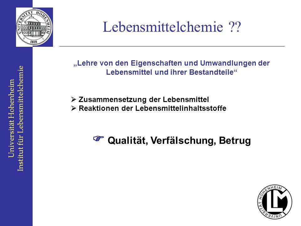 Universität Hohenheim Institut für Lebensmittelchemie Lebensmittelchemie ?? Lehre von den Eigenschaften und Umwandlungen der Lebensmittel und ihrer Be