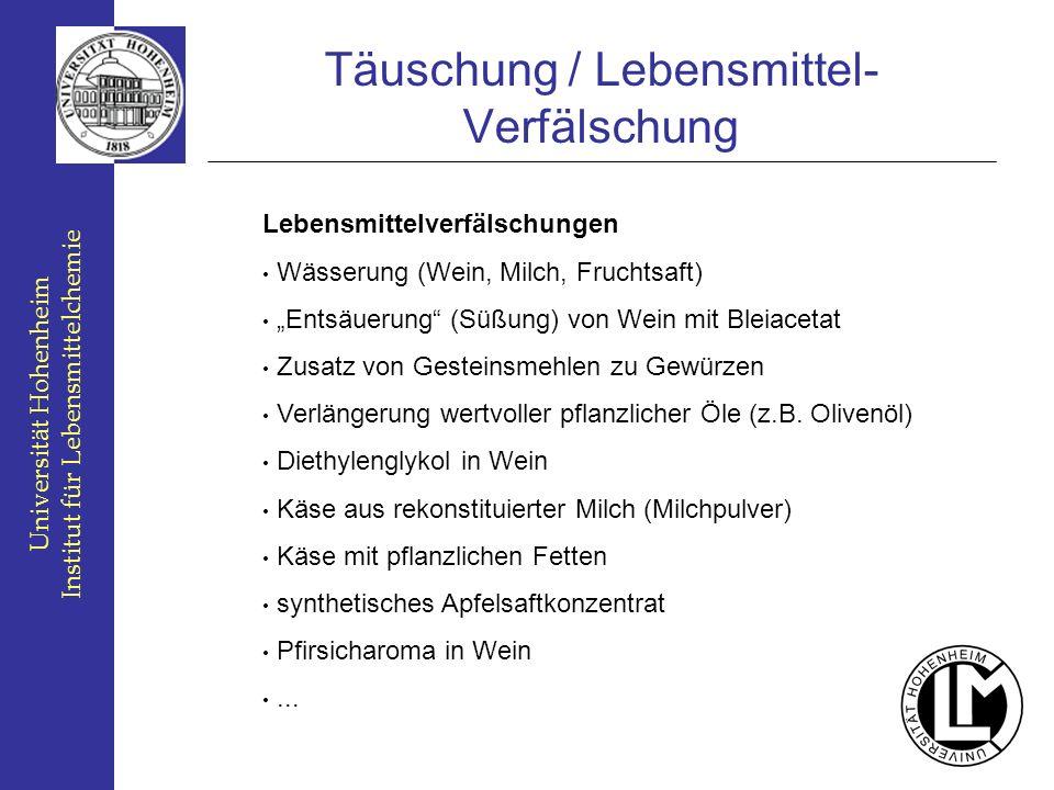 Universität Hohenheim Institut für Lebensmittelchemie Täuschung / Lebensmittel- Verfälschung Lebensmittelverfälschungen Wässerung (Wein, Milch, Frucht