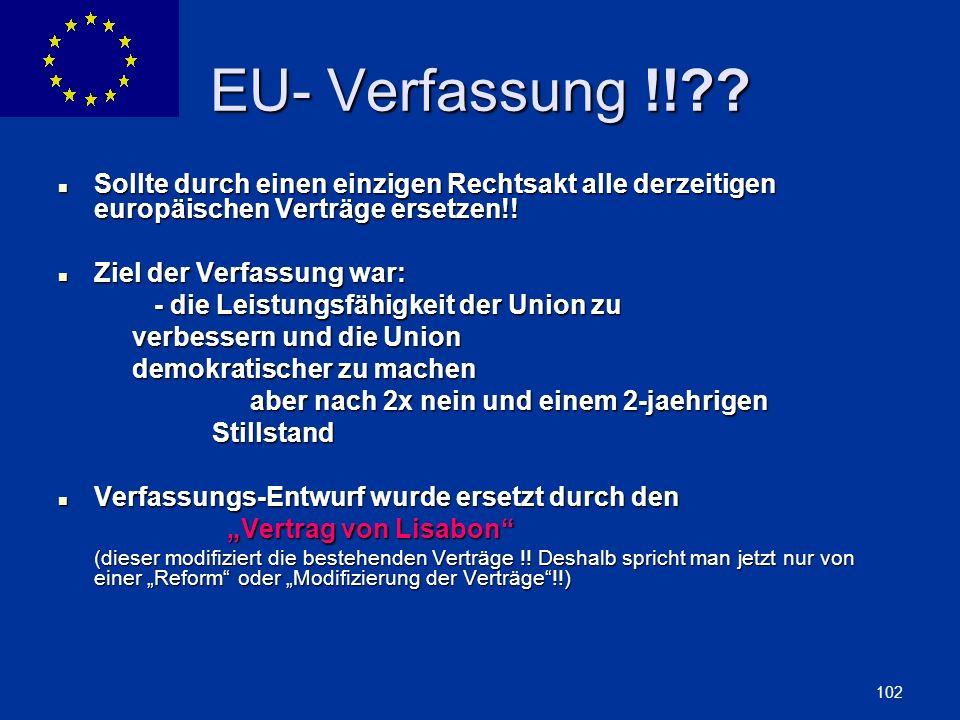 ENLARGEMENT DG 102 EU- Verfassung !!?? Sollte durch einen einzigen Rechtsakt alle derzeitigen europäischen Verträge ersetzen!! Sollte durch einen einz