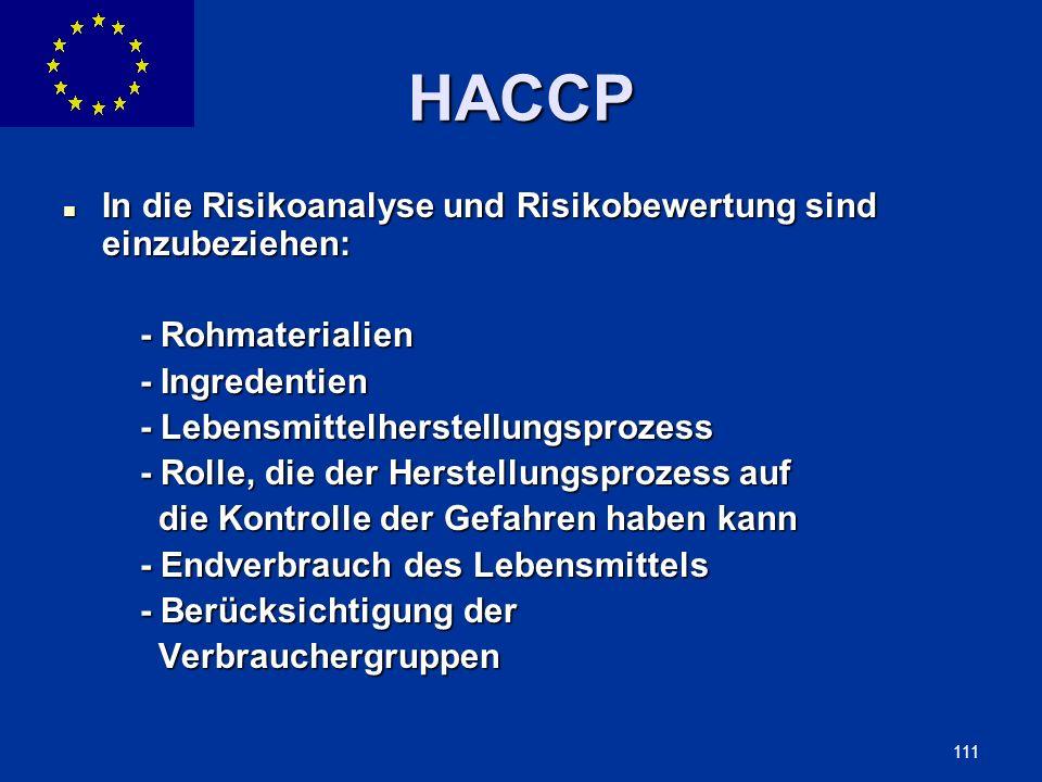 ENLARGEMENT DG 111 HACCP In die Risikoanalyse und Risikobewertung sind einzubeziehen: In die Risikoanalyse und Risikobewertung sind einzubeziehen: - R