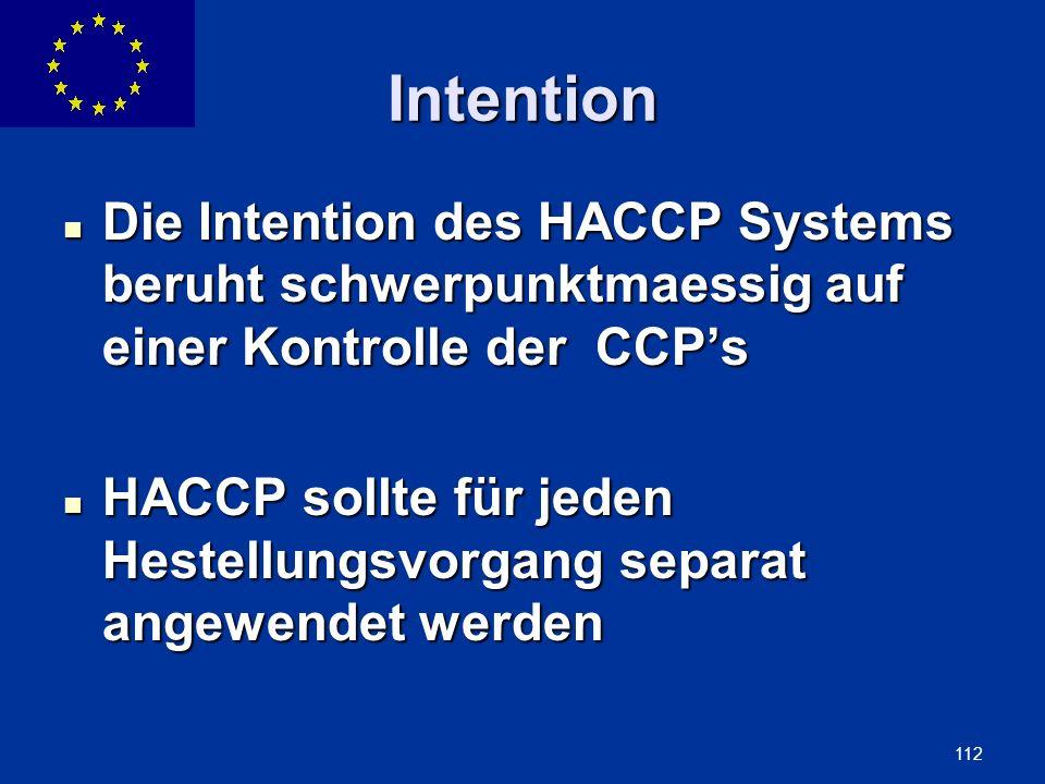 ENLARGEMENT DG 112 Intention Die Intention des HACCP Systems beruht schwerpunktmaessig auf einer Kontrolle der CCPs Die Intention des HACCP Systems be