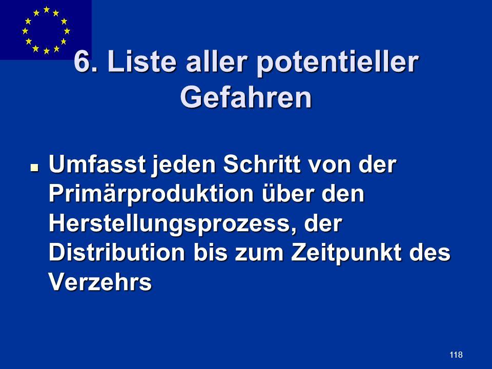 ENLARGEMENT DG 118 6. Liste aller potentieller Gefahren Umfasst jeden Schritt von der Primärproduktion über den Herstellungsprozess, der Distribution