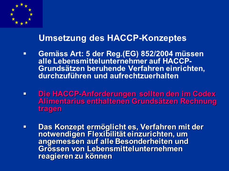 ENLARGEMENT DG Umsetzung des HACCP-Konzeptes Gemäss Art: 5 der Reg.(EG) 852/2004 müssen alle Lebensmittelunternehmer auf HACCP- Grundsätzen beruhende