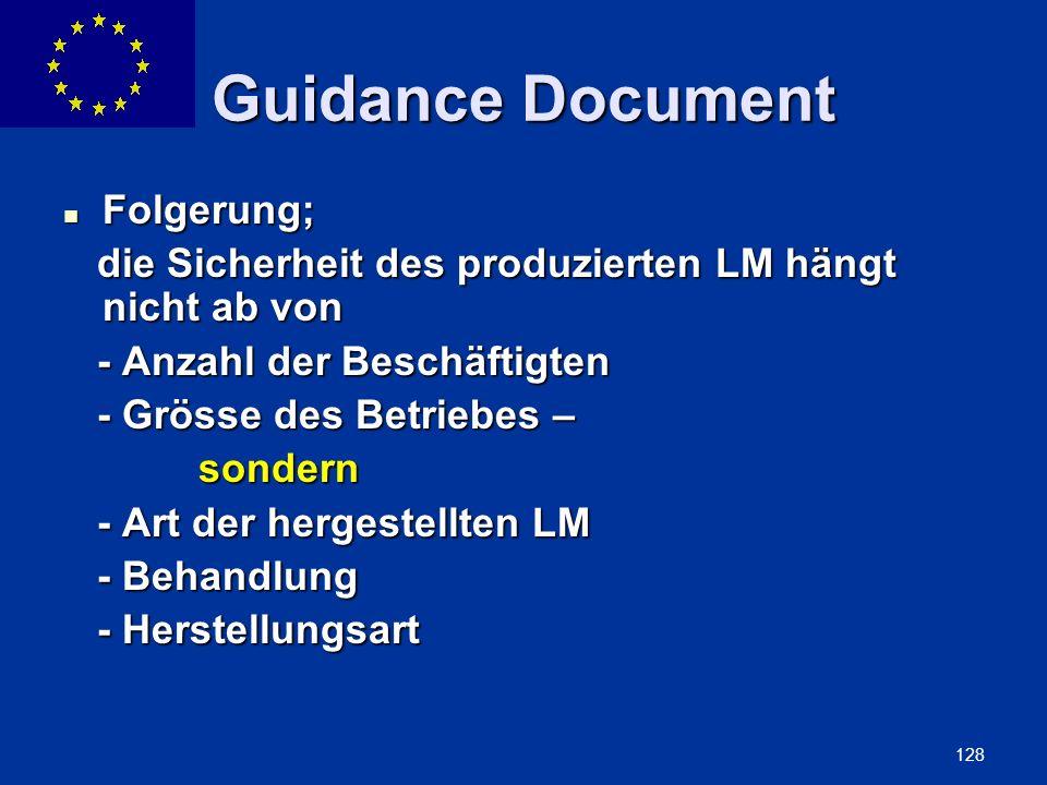 ENLARGEMENT DG 128 Guidance Document Folgerung; Folgerung; die Sicherheit des produzierten LM hängt nicht ab von die Sicherheit des produzierten LM hä