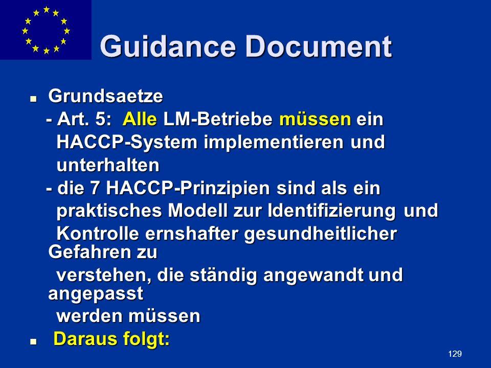 ENLARGEMENT DG 129 Guidance Document Grundsaetze Grundsaetze - Art. 5: Alle LM-Betriebe müssen ein - Art. 5: Alle LM-Betriebe müssen ein HACCP-System