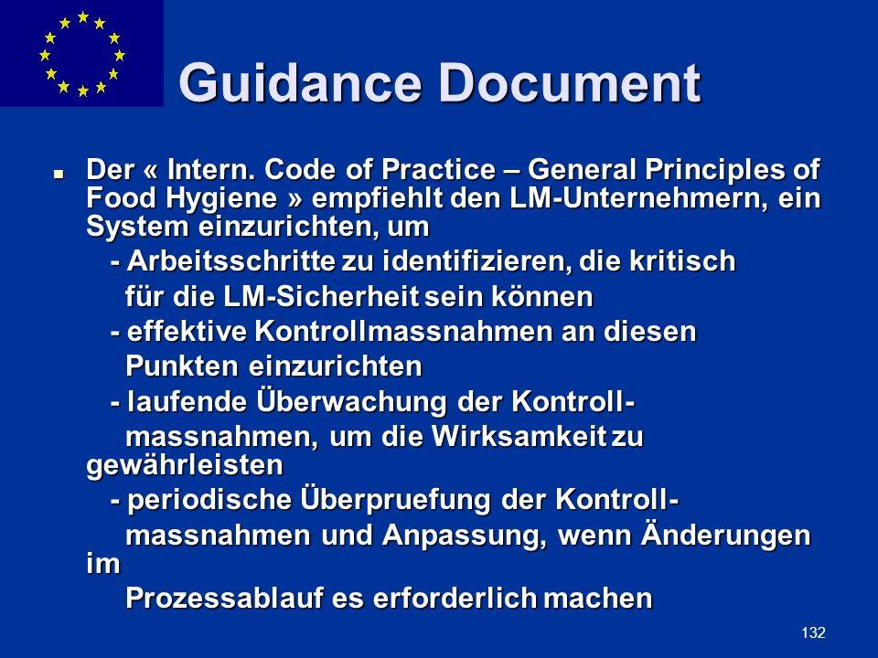 ENLARGEMENT DG 132 Guidance Document Der « Intern. Code of Practice – General Principles of Food Hygiene » empfiehlt den LM-Unternehmern, ein System e