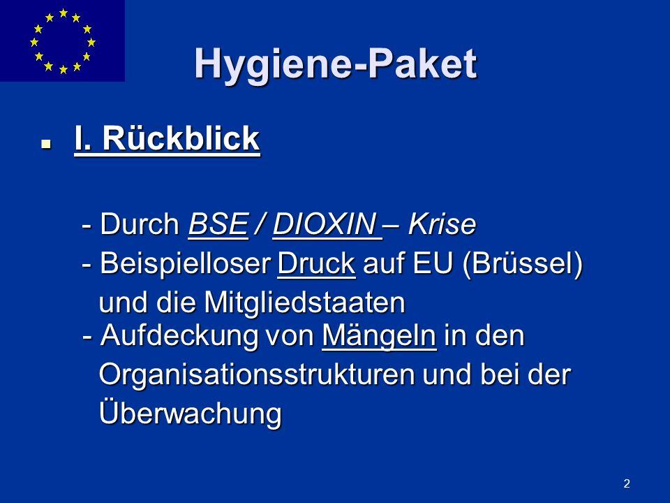 ENLARGEMENT DG 2 Hygiene-Paket I. Rückblick I. Rückblick - Durch BSE / DIOXIN – Krise - Durch BSE / DIOXIN – Krise - Beispielloser Druck auf EU (Brüss