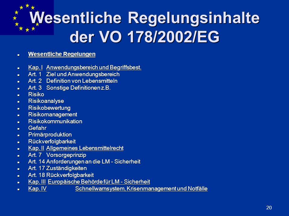 ENLARGEMENT DG 20 Wesentliche Regelungsinhalte der VO 178/2002/EG Wesentliche Regelungen Wesentliche Regelungen Kap. IAnwendungsbereich und Begriffsbe