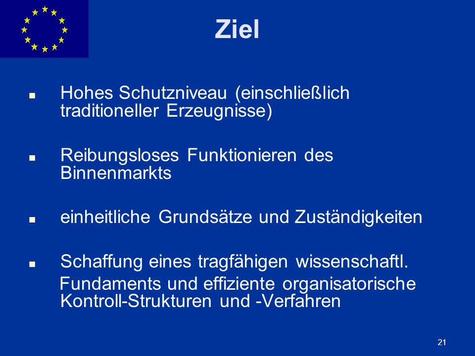 ENLARGEMENT DG 21 Ziel Hohes Schutzniveau (einschließlich traditioneller Erzeugnisse) Reibungsloses Funktionieren des Binnenmarkts einheitliche Grunds