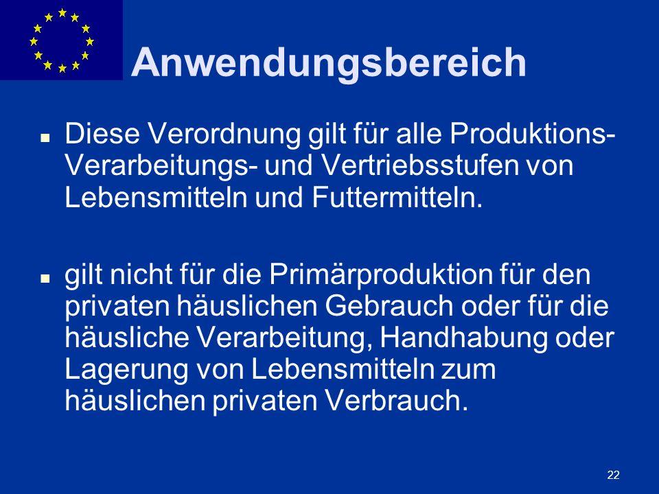 ENLARGEMENT DG 22 Anwendungsbereich Diese Verordnung gilt für alle Produktions- Verarbeitungs- und Vertriebsstufen von Lebensmitteln und Futtermitteln