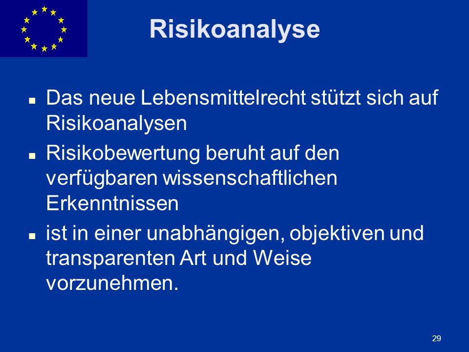 ENLARGEMENT DG 29 Risikoanalyse Das neue Lebensmittelrecht stützt sich auf Risikoanalysen Risikobewertung beruht auf den verfügbaren wissenschaftliche