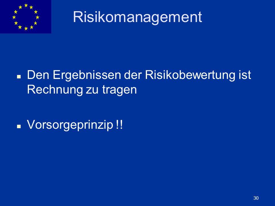 ENLARGEMENT DG 30 Risikomanagement Den Ergebnissen der Risikobewertung ist Rechnung zu tragen Vorsorgeprinzip !!