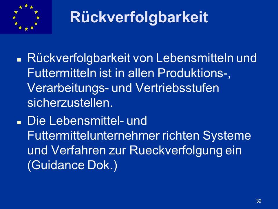 ENLARGEMENT DG 32 Rückverfolgbarkeit Rückverfolgbarkeit von Lebensmitteln und Futtermitteln ist in allen Produktions-, Verarbeitungs- und Vertriebsstu