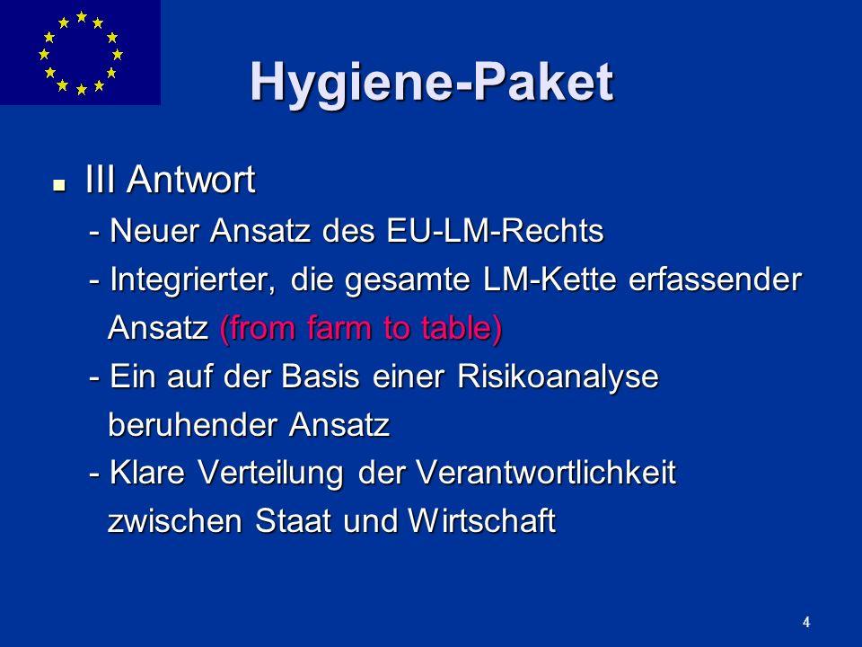 ENLARGEMENT DG 4 Hygiene-Paket III Antwort III Antwort - Neuer Ansatz des EU-LM-Rechts - Neuer Ansatz des EU-LM-Rechts - Integrierter, die gesamte LM-