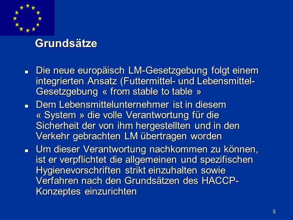ENLARGEMENT DG 5 Grundsätze Die neue europäisch LM-Gesetzgebung folgt einem integrierten Ansatz (Futtermittel- und Lebensmittel- Gesetzgebung « from s