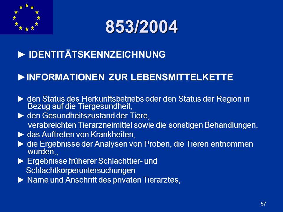 ENLARGEMENT DG 57 853/2004 IDENTITÄTSKENNZEICHNUNG INFORMATIONEN ZUR LEBENSMITTELKETTE den Status des Herkunftsbetriebs oder den Status der Region in