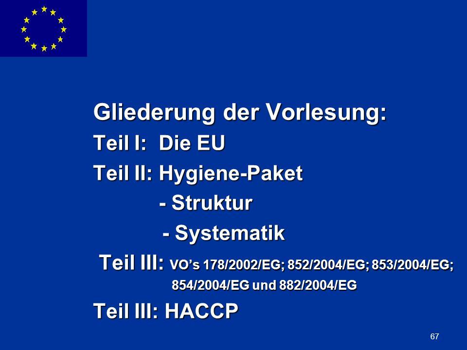 ENLARGEMENT DG 67 Gliederung der Vorlesung: Teil I: Die EU Teil II: Hygiene-Paket - Struktur - Struktur - Systematik - Systematik Teil III: VOs 178/20