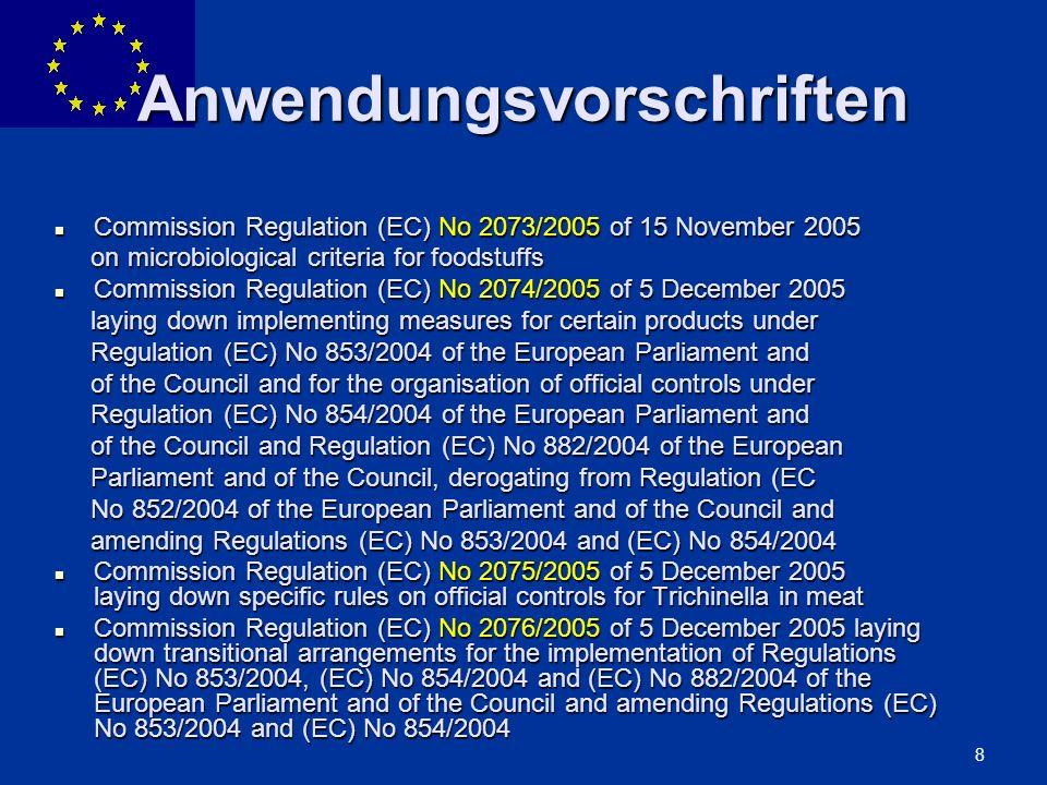 ENLARGEMENT DG 59 853/2004 ABSCHNITT VII: LEBENDE MUSCHELN ABSCHNITT VIII: FISCHEREIERZEUGNISSE ABSCHNITT IX: ROHMILCH UND VERARBEITETE MILCHERZEUGNISSE ABSCHNITT X: EIER UND EIPRODUKTE ABSCHNITT XI: FROSCHSCHENKEL UND SCHNECKEN ABSCHNITT XII: AUSGESCHMOLZENE TIERISCHE FETTE UND GRIEBEN ABSCHNITT XIII: BEARBEITETE MÄGEN, BLASEN UND DÄRME ABSCHNITT XIV: GELATINE ABSCHNITT XV: KOLLAGEN