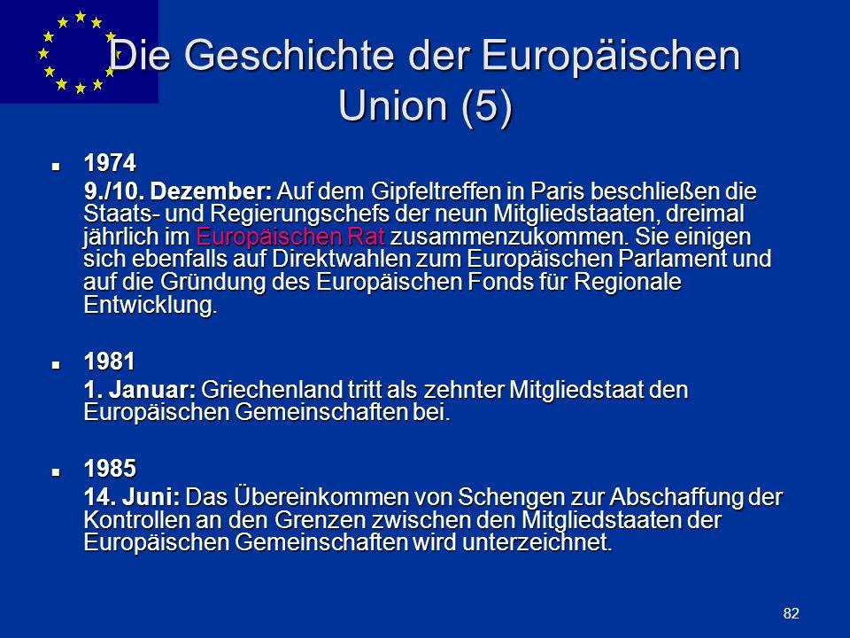 ENLARGEMENT DG 82 Die Geschichte der Europäischen Union (5) 1974 1974 9./10. Dezember: Auf dem Gipfeltreffen in Paris beschließen die Staats- und Regi